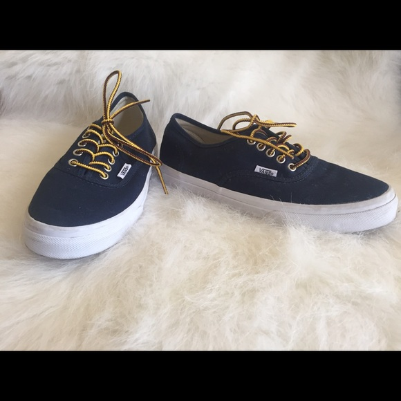 Vans Shoes Navy Blue With Red And Yellow Laces Poshmark