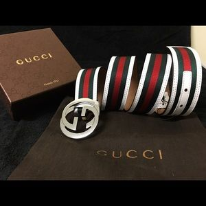 Gucci Other - Gucci Men Belt White Green Red Stripes Sz Fits All