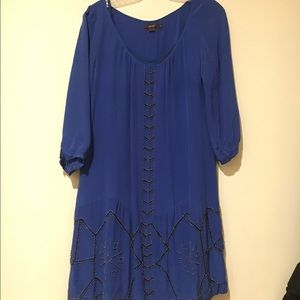Long sleeve silk dress with embroidery