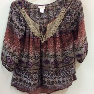Shyanne peasant blouse top sz M Lace embellished