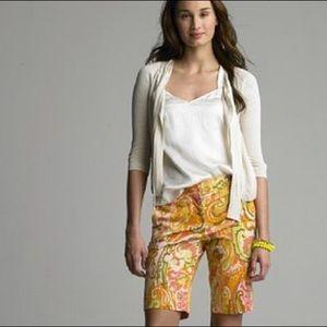 J. Crew Pants - J.Crew watercolor paisley print Bermuda shorts