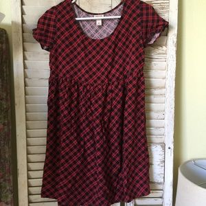 Red & Black Plaid Tunic Top