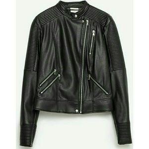 Zara Jackets & Blazers - Zara Black Moto Biker Jacket with Zips