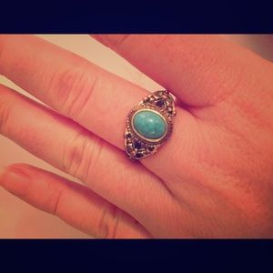 Turquoise Silver Colored Ring