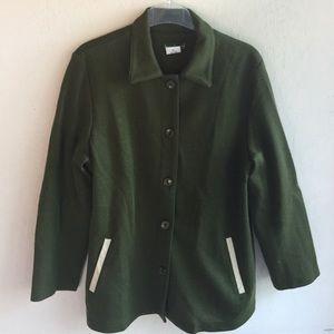 Harve Benard Jackets & Blazers - Harve Benard Moss-green Wool Knit Jacket.1751