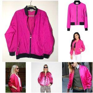Vintage Jackets & Blazers - Vintage hot pink bomber jacket S