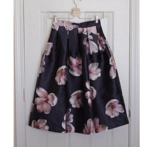 Chicwish Dresses & Skirts - Peach Blossom Midi Skirt in Navy
