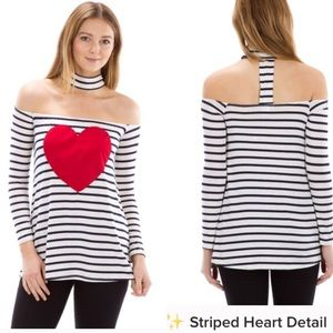 The Blossom Apparel Tops - STRIPED HEART DETAIL CHOKER LONG SLEEVE