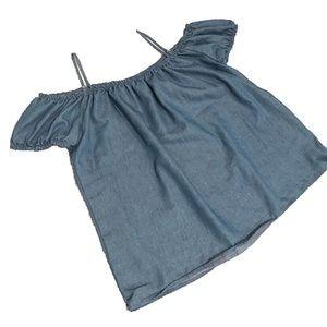 Off shoulder blue top
