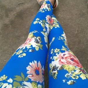 Blue Peony Floral Print Leggings Tights