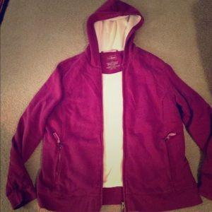 LL BEAN fleece lined heathered purple zip jacket