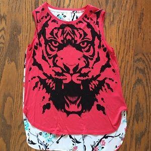 Xhilaration hi low tiger print tshirt