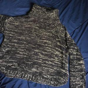 Cowl Neck Metallic and Black Sweater