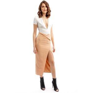 Style Link Miami Dresses & Skirts - PEACH LONG SIDE SLIT SKIRT