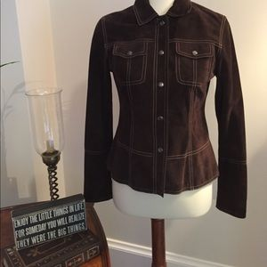 Classiques Entier Jackets & Blazers - Soft Rich brown suede jacket with snap front.