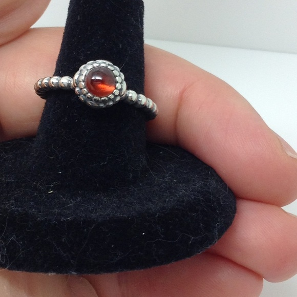 49d0e1c2c pandora Jewelry | Sterling Silver Red Garnet Stacking Ring | Poshmark