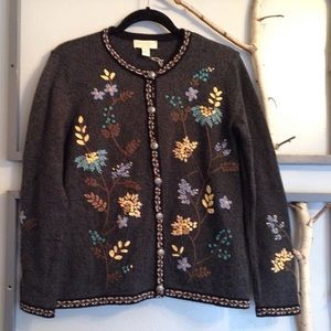 Appleseed's Sweaters - NWOT Stunning Embroidered Marled Grey Cardigan