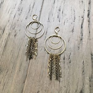 Express Chandelier Earrings in Gold & Bronze