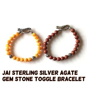 JAI Jewelry - JAI Sterling Silver Gem Stone Toggle Bracelet