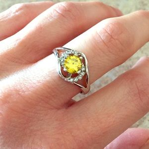 Berricle Jewelry - Sterling Silver Canary Yellow CZ Ring