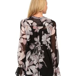 Adrianna Papell Tops - Adrianna Floral Sheer boho peasant tie neck blouse