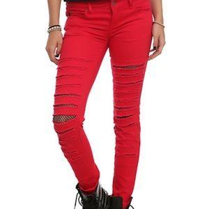 Tripp nyc Denim - Royal Bones Red Skinny Jeans Mesh/Fishnet Cut-outs