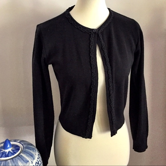 Little Black cardigan sweater with beading trim. S from ! re ...