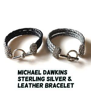 Michael Dawkins Jewelry - Michael Dawkins Sterling Silver Leather Bracelet