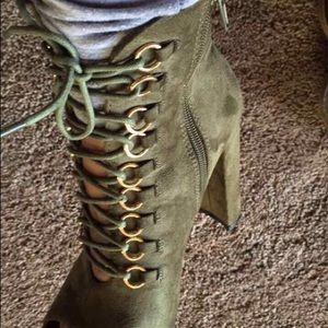 Olive booties| Open Toe| Thick Heel