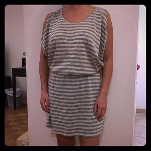 Hive & Honey Dresses & Skirts - Hive & Honey gray gold stripe drape dress