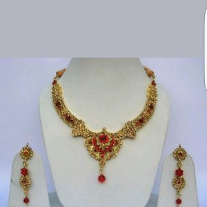 Jewelry - Gold plated hand made kundan necklace set