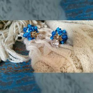 Blue Rose Double Stud Earrings