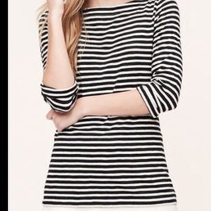 Tops - Ann Taylor Boatneck Top. Black and Whit. Medium.