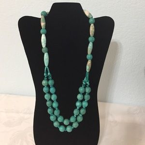 Beautiful turquoise wood, suede, & stone necklace