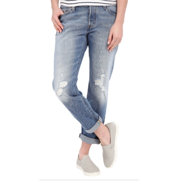 b4ac09a049c Levi 501 CT Distress Boyfriend Jeans Cuffed Rolled