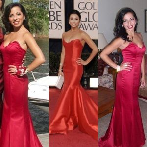 Faviana Eva Longoria inspired red prom dress