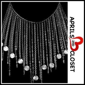 Nordstrom Jewelry - Glam Silver Charm Fringe CHOKER BIB Necklace