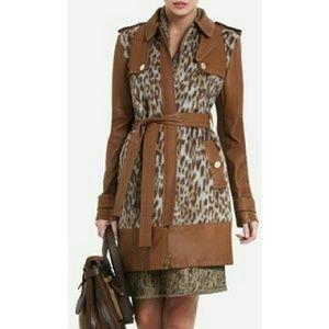BCBGMaxAzria Jackets & Blazers - Blake Leopard-Print Faux-Fur Trench Coat