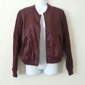 H&M Jackets & Blazers - NEW leather burgandy bomber jacket