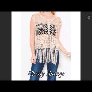 boutique Tops - Natural colored crocheted fringe top