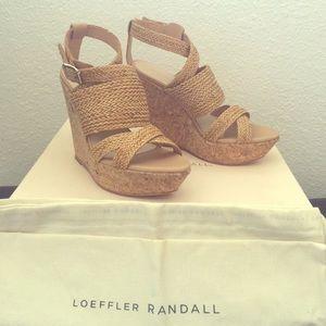 Loeffler Randall Shoes - New! Loeffler Randal Wedges Tan Braid/Cork  sz 6