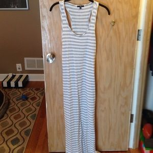 Gap razorback grey stripped maxi dress size S