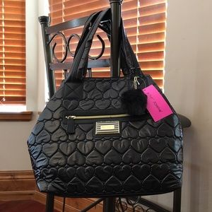 Betsey Johnson Heart Quilted Trap Tote Bag