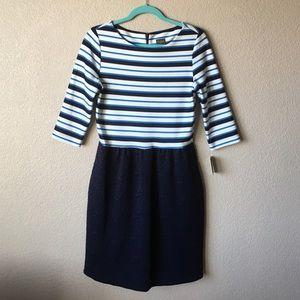 Taylor Dresses & Skirts - Taylot Stripe Top Textured Bottom Blue Dress