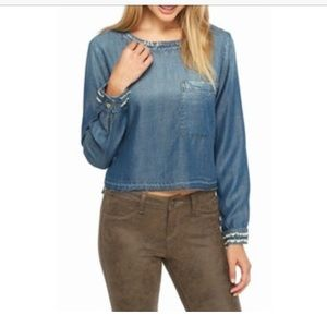 Cloth & Stone Cropped Button Back Chambray Top