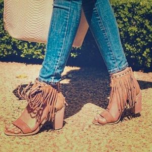 Nordstrom Shoes - Tan Fringe Chunk Heel Sandals