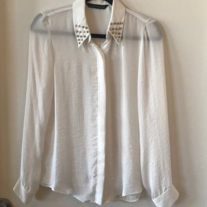 Zara white studded collared blouse