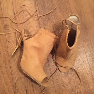 Shoes - Nude faux suede peeptoe lace up ankle bootie