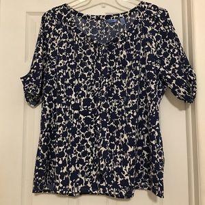 Izod Tops - Tie-front navy & white blouse