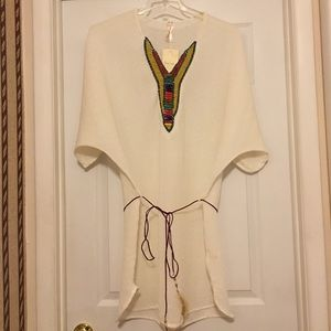 Kristin Miles Other - Ivory beaded chiffon tunic